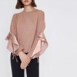 River Island Pink satin frill sleeve sweatshirt – ruffle sleeved tops