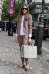 Olivia Palermo's chic street style in muted-pink pant suit outfit