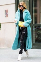 RHW winter street style…turquoise teddy coat and black leather skinny trousers.