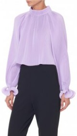 TIBI PLEATED CROPPED TOP – lavender high neck tops