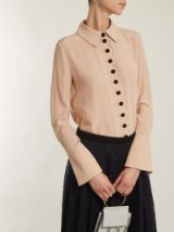 CHLOÉ Point-collar scalloped-edged silk crepe shirt ~ chic beige-pink shirts