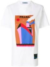 PRADA logo boat print T-shirt / white printed t-shirts