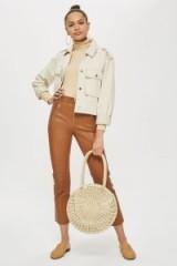 Topshop Premium Tan Leather Trousers | brown skinny pants
