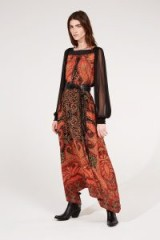AMANDA WAKELEY PRINTED CREPE DE CHINE & SILK TULLE DRESS ~ boho chic