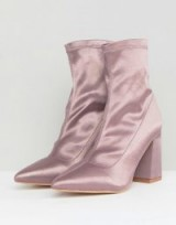 Public Desire Radiate Lilac Satin Sock Ankle Boots