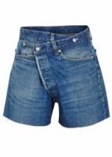 R13 Crossover blue denim shorts ~ asymmetric front