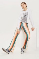 Topshop Rainbow Striped Flared Trousers | stripy flares