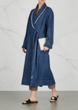 RAQUEL ALLEGRA Navy denim jacket ~ blue longline jackets ~ indigo coats