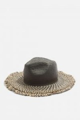 topshop Raw Edge Straw Hat. BLACK WIDE BRIM HATS