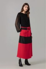 AMANDA WAKELEY RED CLOQUE WRAP SKIRT ~ stylish colour block skirts