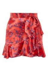 Topshop Red Floral Print Mini Skirt   asymmetric frill hem skirts