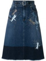 RED VALENTINO dragonfly denim skirt | embellished A-line skirts