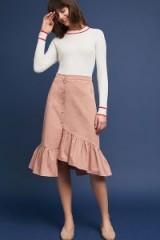 J.O.A Riley Ruffled Skirt | pink asymmetric ruffle hem skirts