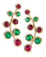 Rina Limor 18k Yellow Gold Vine Earrings with Rubies & Emeralds – luxe ear crawlers – red and green stone jewellery