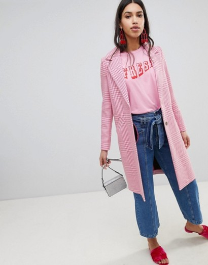 River Island Pink Checked Car Coat