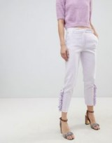 River Island Pearl Detail Cigarette Trousers – lilac side frill pants