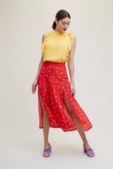 Rixo London Georgia Printed Silk Skirt | red front slit skirts