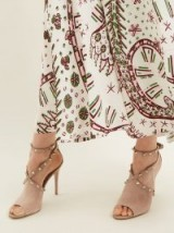 VALENTINO Rockstud cross-strap suede pumps ~ beige strappy peep toes