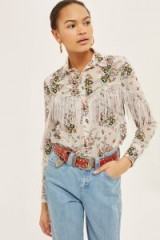Topshop Rodeo Fringe Floral Shirt | fringed western clothing