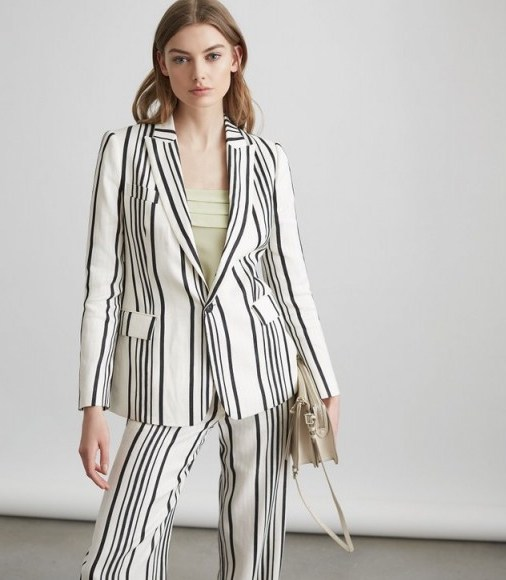 Reiss RODEO JACKET TAILORED BLAZER WHITE/BLACK – striped suit jackets - flipped