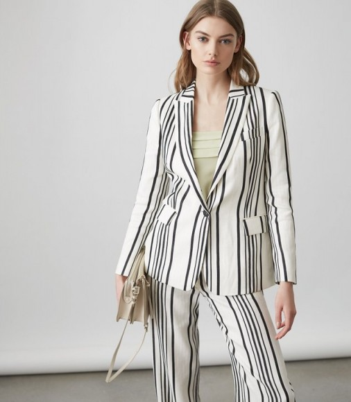 Reiss RODEO JACKET TAILORED BLAZER WHITE/BLACK – striped suit jackets