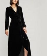 GANNI Rodier Black Velvet Wrap Maxi Dress