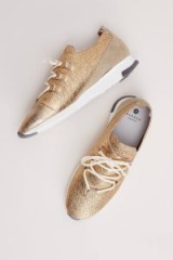 Ronya Suede and Leather Trainers | metallic gold sneakers | sports luxe shoes