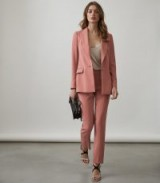 REISS ROZA JACKET SINGLE-BREASTED BLAZER ROSE PINK ~ luxe trouser suit jackets