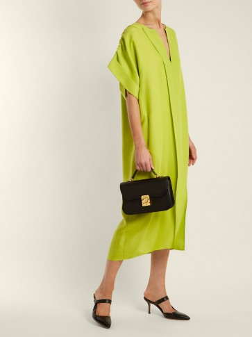 MAISON RABIH KAYROUZ Lime-Green Ruched-shoulder midi dress