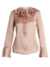 LUISA BECCARIA Ruffled tie-neck rose-pink silk-blend satin blouse