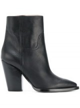 SAINT LAURENT Jodie 105 Western ankle boots / black leather stacked heel boot