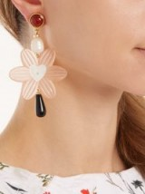 LIZZIE FORTUNATO Sal Heart gold-plated pearl earrings ~ blush-pink flower jewellery
