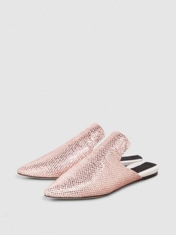 SANAYI 313 Bozza Metallic Woven Slippers ~ simmering pink flats - flipped