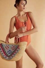 Tricia Fix Sandy Shores Embellished Tote. BEADED STRAW BAGS