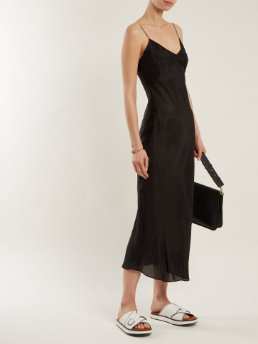 KATHARINE HAMNETT Sara black silk slip dress ~ elegant cami dresses