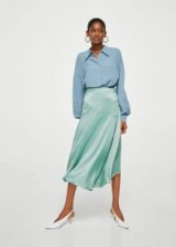 MANGO Satin asymmetric skirt NEWPORT / green silky skirts
