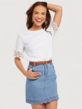 DRAPER JAMES Scallop Denim Skirt | blue cotton skirts