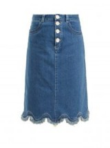 SEE BY CHLOÉ Scalloped-hem denim midi skirt ~ blue frayed hemline skirts