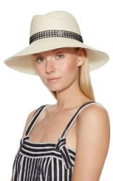 Maison Michel Rose Straw Caning Hat. OFF-WHITE HATS