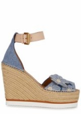 SEE BY CHLOÉ Appliquéd espadrille wedge sandals ~ blue denim wedges ~ 70s vintage summer style