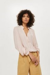 Topshop Self-Jacquard Gypsy Blouse | nude fluid blouses