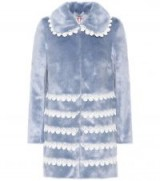 SHRIMPS Sol blue faux fur lace trimmed coat