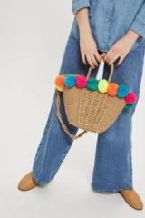 topshop Sia Multi Pom-Pom Straw Shopper Bag.
