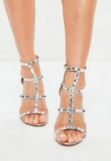 Missguided silver studded gladiator sandals – metallic stiletto heeled gladiators