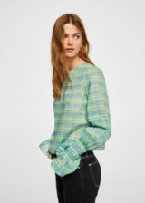 MANGO Sleeve detail blouse / green check print gathered cuff tops