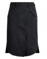 POLO RALPH LAUREN Slit-Front Satin Utility Skirt ~ black surplus-inspired split hem skirts