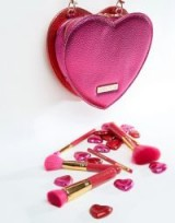 Spectrum Valentines Bag and Brush Set ~ pink metallic cosmetic bags