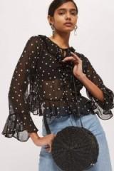 Topshop Spot Frill Blouse | sheer black spotty blouses