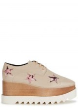 STELLA MCCARTNEY Elyse blush pink star flatforms. NUDE WEDGES