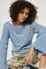 Topshop Stitchy Tie Back Flute Sleeve Top | blue vintage style jumpers | lnitted tops